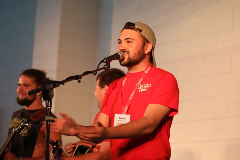 Employee leading worship