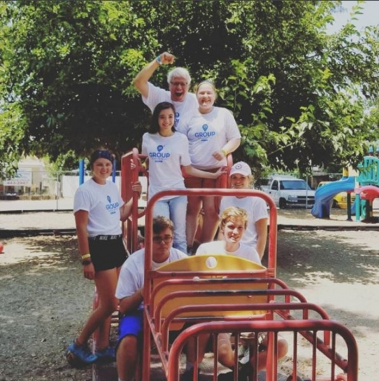 Youth group at a playground